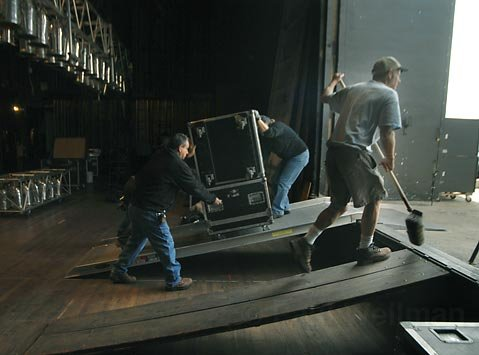 <strong>Behind the scenes:</strong>  Local 422 stagehands set up for a Blues Traveler show at the Arlington in 2007.