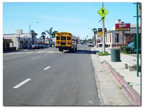 Here's where the bike lane ends on the busiest part of Hollister where bikes have to compete with buses and cars.