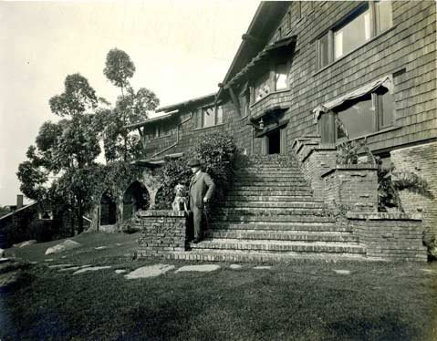 Nathan Bentz in front of his Santa Barbara home, designed by Greene and Greene.
