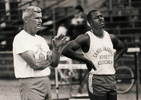Sam Adams, pictured here with hurdler Elliot White, was a force to be reckoned with as UCSB's track and field guru.