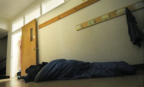 With rooms filling up at the Unitarian Church last week some homeless set up their sleeping bags in the hallway.