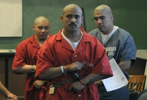 Jan. 25, 2010 Omar Ramos, (center) Erick Roman, (right), and Ricardo Nava (left) leave the Superior Courtafter being sentenced for their role in a 2007 attempted murder of a rival (West side) gang member