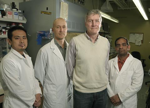 L to R Burnham Institute Medical Research Staff Scientists Kazuki Sugahara, Tambet Teesalu, Dr. Erkki Ruoslahti, and Venkata Ramana Kotamraju