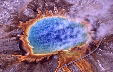 The Grand Prismatic Spring at Yellowstone National Park, Wyoming, is the third largest hot spring in the world.  Its acidic waters, which reach 189 degrees Fahrenheit, are home to many archaea, an amazing group of organisms distinguished by their abilities to eat anything and live anywhere.