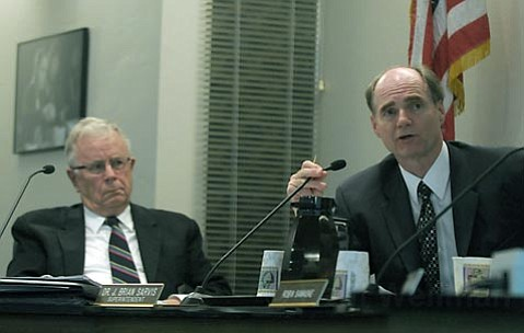 <strong>To the bone:</strong>  There were no easy answers this week for Santa Barbara School Board President Ed Heron (left) and District Superintendent Brian Sarvis (right), as they need to find $6 million worth of budget reductions by the end of the month.