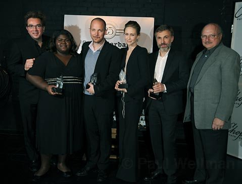 L to R Roger Durling, Gabourey Sidibe, Peter Sarsgaard, Vera Farmiga, Christoph Waltz, and Dennis Franz