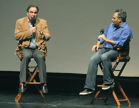 Oliver Stone takes questions from MCN's David Poland after a screening of South of the Border at the Lobero Theatre Feb. 13, 2010