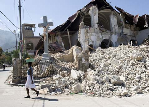 The streets of Port-au-Prince are filled with scenes of destruction and rubble, like that of this church that was decimated by the catastrophic January 12 earthquake.