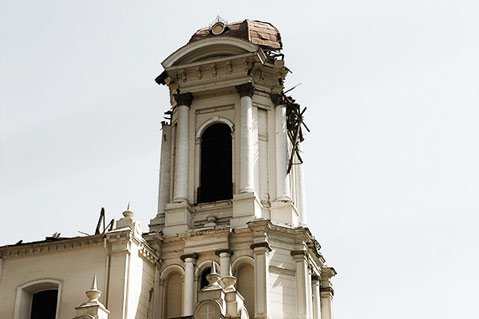 Old church with earthquake damage in Santiago.