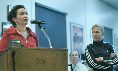 <strong>A tale of two sides:</strong>  Santa Barbara School District translator and parent Alma Flores (left) speaks out in favor of doing away with the GATE label as means of creating easier access to advanced classes for students of color, while GATE advocate, parent, and critic of the proposal Shari Kilstofte (right) waits for her turn to talk during public comment.