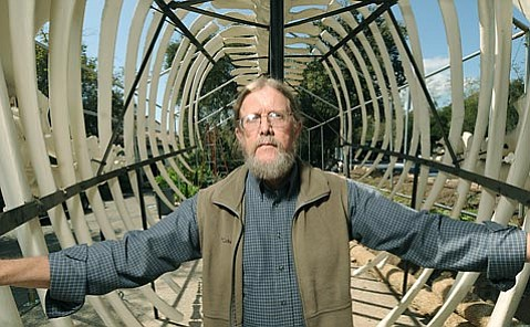 Santa Barbara Museum of Natural History Zoology Curator Paul Collins inside the belly of the whale before reparations