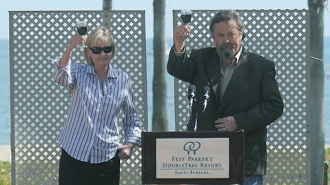 Ashlet Parker Snider and Eli Parker end the ceremony with a toast to their father, Fess Parker, March 26, 2010