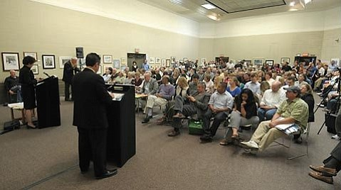 An overflow crowd packed the Faulkner Gallery in the Santa Barbara Library to attend the District Attorney candidate forum April 7, 2010