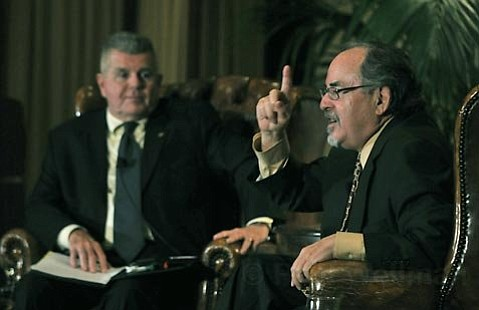Mark McIntire (left) and David Horowitz during a Santa Barbara Tea Party sponsored event April 15, 2010