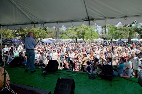 James Cameron addresses the Earthday crowd on Sunday.