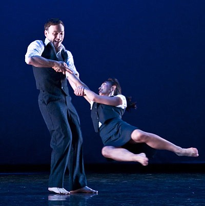 "Larry Keigwin and Michele Wong share a moment of pure exhilaration in ""Air."""