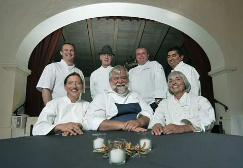Some of the chefs volunteering for the Noah's Anchorage fundraising dinner on May 26, 2010 (CCW from bottom left) Christine Dahl, James Sly, Mari Bartoli, Alex Castillo, Vincent Vanhecke, Michael Hutchings, and Charlie Rushton