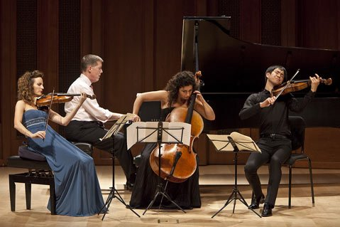 Catherine Leonard, Warren Jones, Ani Aznavoorian, and Richard Yongjae O'Neill performing Schumann's <em>Quartet in E-flat Major for Piano and Strings, Op. 47</em>.