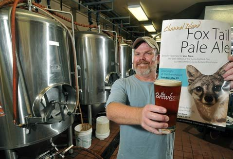 "<strong>FOXY BREWER:</strong>  The Brewhouse's Pete Johnson made a special ale for the Zoo Brew benefit because he loves the Santa Barbara Zoo and supports the endangered Island Fox. ""Plus,"" he adds, ""I just like drinking beer with foxes."""