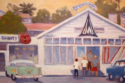 "Matt Moore's ""WhiteOwlSurf Shop, Summerland 1962."""