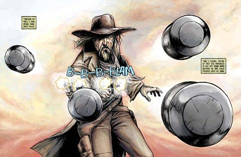 """<strong>OLD WEST GOES DIGITAL: </strong> The gunslinger Frank """"Breakneck"""" Kelley (top) is just one of the Old West-inspired characters who haunt <em>The Guns of Shadow Valley</em>, an online comic book cocreated by Santa Barbara resident James Andrew Clark. The series is up for an Eisner Award, considered to be the Oscars of comics."""