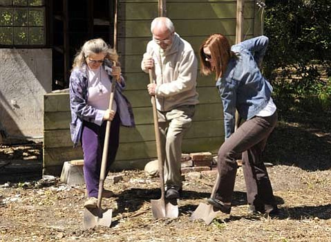 Left to right S.B. Audubon president Darlene Chirman, SBMNS Director Karl Hutterer and the author break ground at the May 22 event.