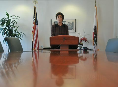 Joyce Dudley at a press conference following the firing of Josh Lynn, June 16, 2010