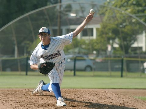 Chris Joyce was the starting pitcher for the Foresters on the Fourth of July game at Pershing Park against Conejo Oaks.