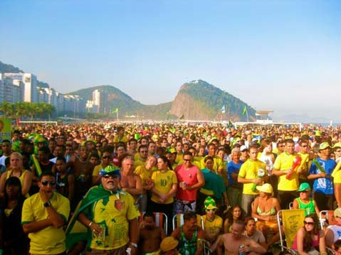 Thousands of Brazilians get serious and attentive while the game is in session.