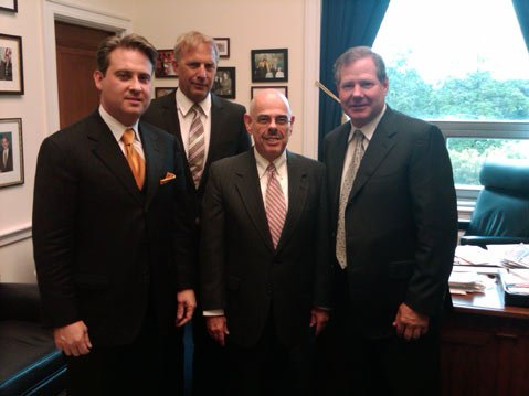 (left to right) John Houghtaling, Kevin Costner, Senator Henry Waxman, Patrick Smith.