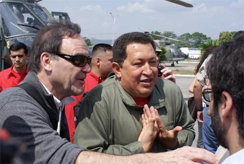 <strong>OLIVER'S TWIST ON HUGO:</strong>  Originally intending to do a documentary on media manipulation in the United States, Oliver Stone (left) hit it off with Venezuela's controversial leftist firebrand President Hugo Chávez (center), who introduced the director to other liberal leaders in South America. The resulting discussions became <em>South of the Border</em>, which opens in Santa Barbara this weekend.