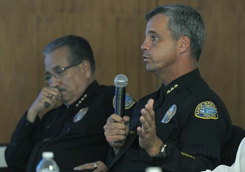 <strong>AU CONTRAIRE:</strong>  Police Chief Cam Sanchez (left) and Assistant Police Chief Frank Mannix reported that crime rates are actually going down, not up as previously alleged by Detective Jaycee Hunter.