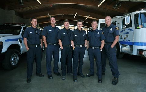 County firefighter Tyler Gilliam (third from right) returned to work this week after an 18-month battle with testicular cancer. Three of his colleagues ran from Santa Barbara to Los Angeles - a 3-day, 90-mile journey - to show their support as Gilliam underwent grueling treatment.