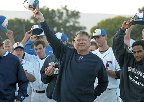 Foresters coach Bill Pintard salutes the crowd for their support following the last home game on July 31, 2010 before heading to the  National Baseball Congress World Series in Wichita, KA. Monday August 2, 2010 Pintard was named the California Collegiate League's Manager of the Year.
