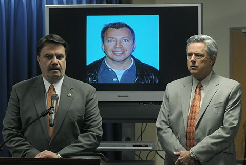 Sheriff Bill Brown and LAPD Detective Joel Price at the Nojoqui Grade victim press conference. Victim Bernardo Alvarez is pictured in the background.