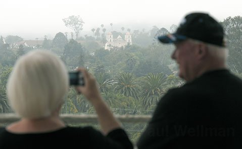 <strong>GRAY DAYS:</strong>  Marine layer-addled views like this one from atop the Santa Barbara County Courthouse have been par for the course so far this summer. Though fog is typical during summer months along the coast of California, this season has been especially gloomy according to experts and armchair weather forecasters alike.