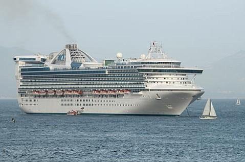 A cruise ship stops off Santa Barbara's coast in 2009