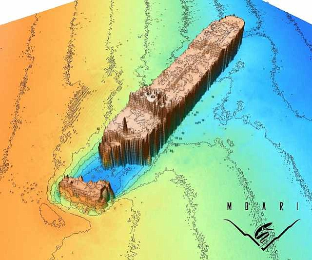 This sonar image shows the bow of the S. S. Montebello, which broke off when the ship sank to the sea floor. The image also includes bottom contours that indicate the shape of the surrounding sea floor.