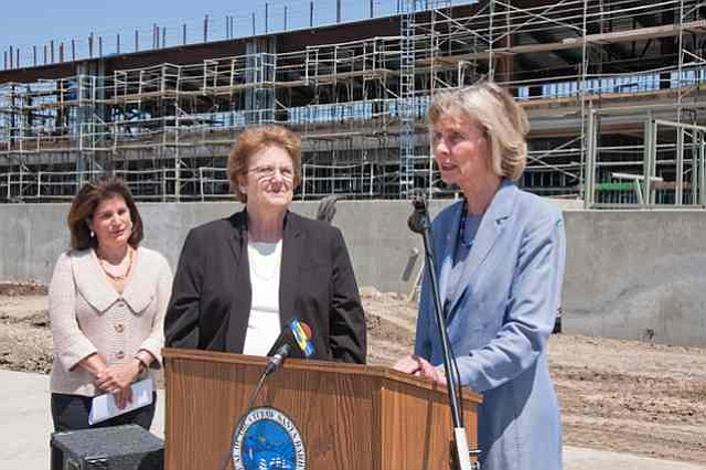 Representative Lois Capps holds a press conference in front of the new Santa Barbara Airline Terminal scheduled to open in the spring of 2011. Supervisor Janet Wolf and Airport Director Karen Ramsdell provided comments on the project as well.