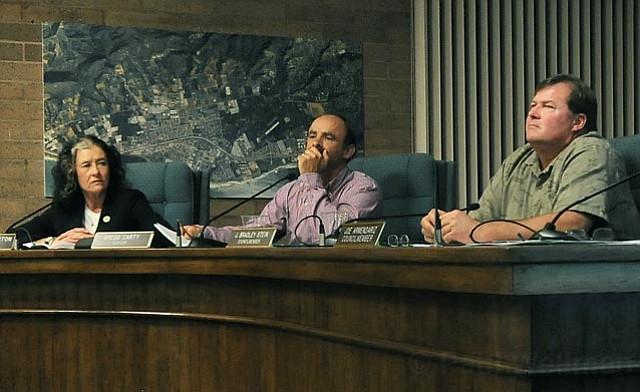 from left:  Carpinteria City Councilmember Kathleen Reddington,  Mayor Gregg Carty, and Councilmember Brad Stein.