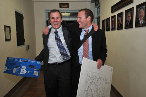 <strong>MAKING IT HAPPEN:</strong>  Twin brothers Jeremy (left) and Joshua Pemberton, pictured here after their successful appeal to the Parks & Recreation Commission in May, have butted heads over and over with city officials during the months leading up to this year's West Beach Music and Arts Festival. The show, which will actually take place in Chase Palm Park, has been dramatically scaled back from last year's three-day 