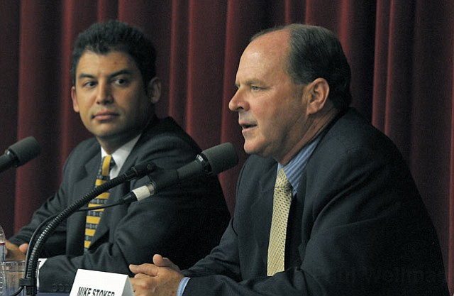 <strong>HARDLY HOMIES:</strong>  Although candidates Das Williams (left) and Mike Stoker are both outspoken, fast on their feet, and like to talk, they were kept on a short leash by forum moderators last Thursday night. Still, their differences shone through.