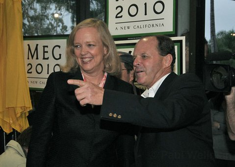 Gubernatorial candidate Meg Whitman and State Assembly hopeful Mike Stoker at Goleta Republican Headquarters