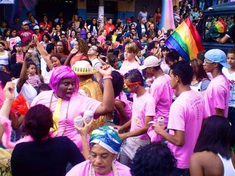 Among LGBT crowd members was Rocinha's crew of gay teenagers (toward the right). Here, the crowd dances choreographed to funk Carioca.