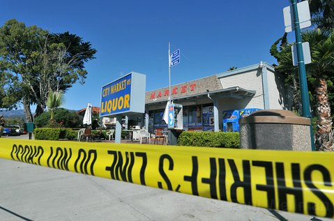 Authorities tape off City Market in Carpinteria after this morning's stabbing.