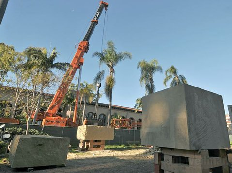 New sandstone pieces arrive at the Santa Barbara Courthouse as part of the complete replacement of the current water fountain sculpture.