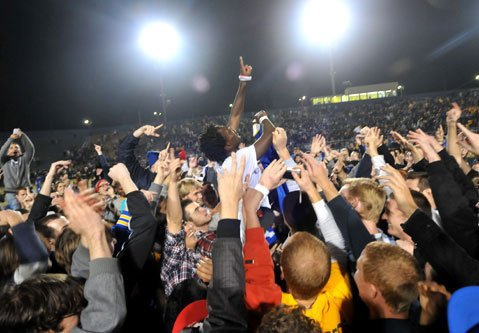 <strong>THE GLORY:</strong>  Although the UCSB men's team lost in the second round of the NCAA tournament, the glorious Gaucho soccer spirit will live on this weekend at Harder Stadium, when four teams come from across the country to compete for the national championship in the College Cup.