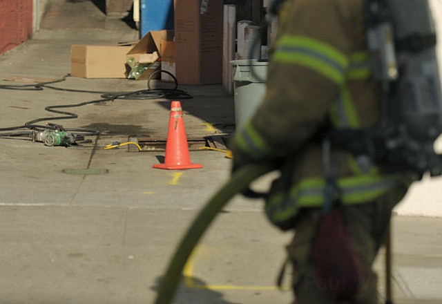 City Police and Fire responded to and closed off Anapumu Street between State and Chapala when a plumber, working on a back flow sewage valve, punctured a gas line with a cutting tool in the alley that connects city Parking Lot #5 to the State and A restaurant.
