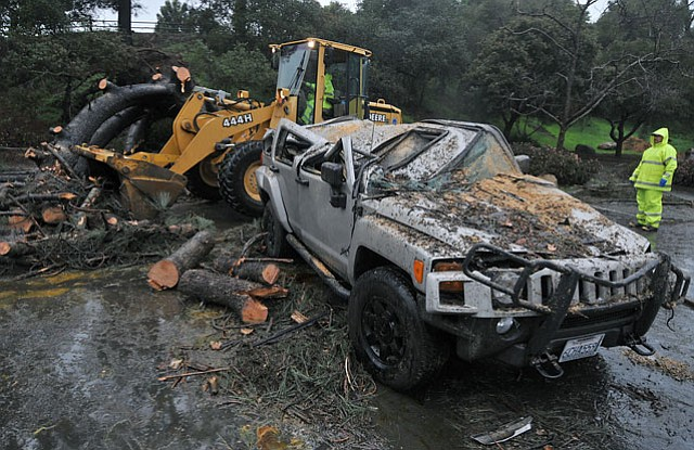 One of the storm's casualties— a Hummer parked near Oak Park—felt the pain on Sunday.