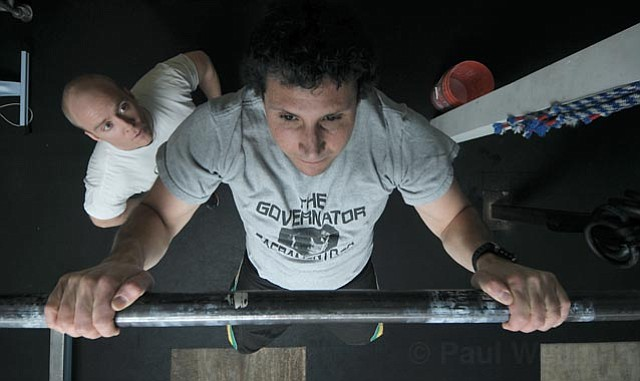 <strong>CRAZY FOR CROSSFIT:</strong>  The Indy's Matt Kettmann is about to embark on a get-in-shape-fast mission through Crossfit Pacific Coast, a studio that was recently opened in the Funk Zone by Traver H. Boehm (left) and Eric Malzone.